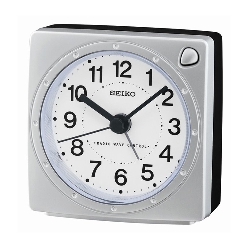 seiko clocks qhr201s funk wecker silber schwarz 39 00. Black Bedroom Furniture Sets. Home Design Ideas